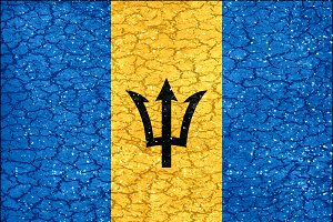 Barbados Grunge Style National Flag
