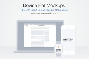 4 in 1 Flat Device Mockup Bundle