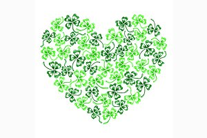 Doodle clover shamrock heart vector