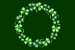 Doodle clover shamrock wreath vector
