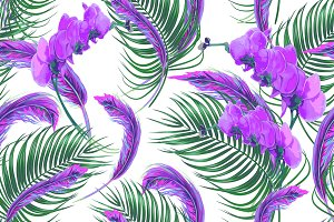 Tropical leaves,feathers pattern