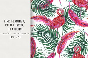 Pink flamingo,palm leaves pattern