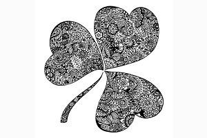 Doodle black clover shamrock vector