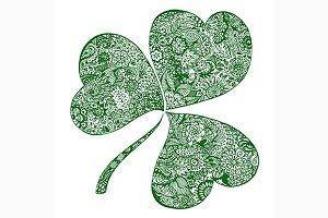 Doodle green clover shamrock vector