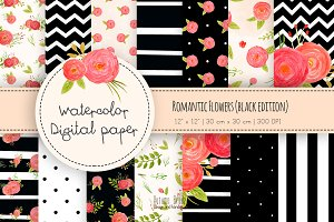 Romantic flowers digital paper black