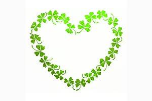 Green clover shamrock heart line art