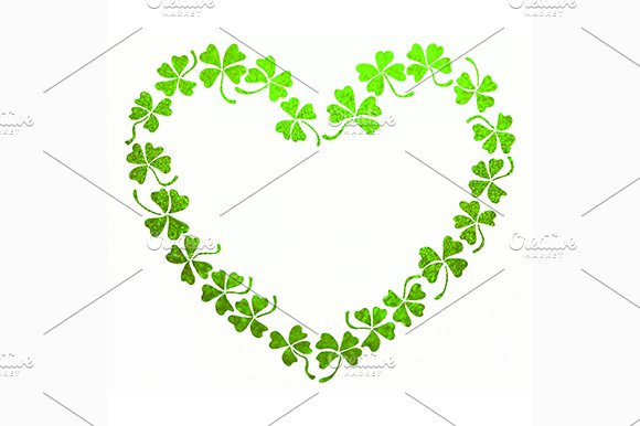Green Clover Shamrock Heart Line Art