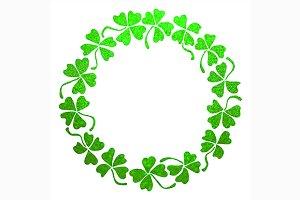 Green clover shamrock frame line art
