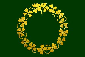 Gold clover shamrock wreath line art