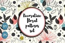 Decorative floral patterns set
