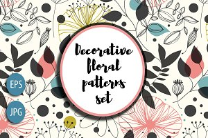 Decorative floral patterns set