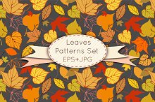 Leaves seamless patterns set