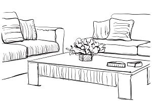 Interior sketch with sofa and table