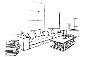 Home interior sketch