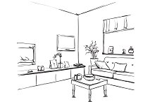 Room interior. Furniture sketch