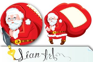 Cartoon Santa Claus with huge sack