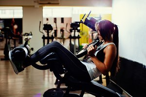 fitness woman abs work out in gym