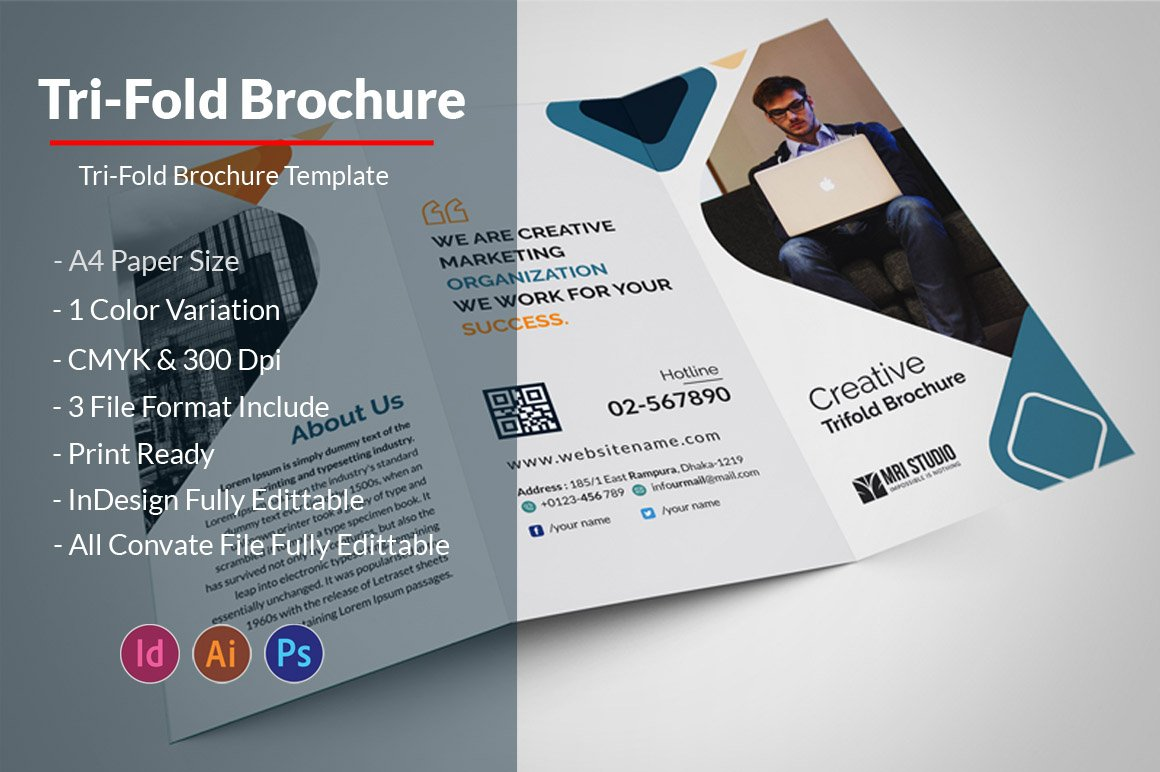 business tri fold brochure brochure templates creative market