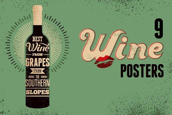 Wine Typographic Retro Grunge Poster