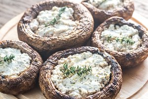 Baked mushrooms stuffed with feta