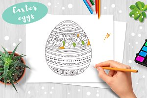 Easter eggs. Coloring pages