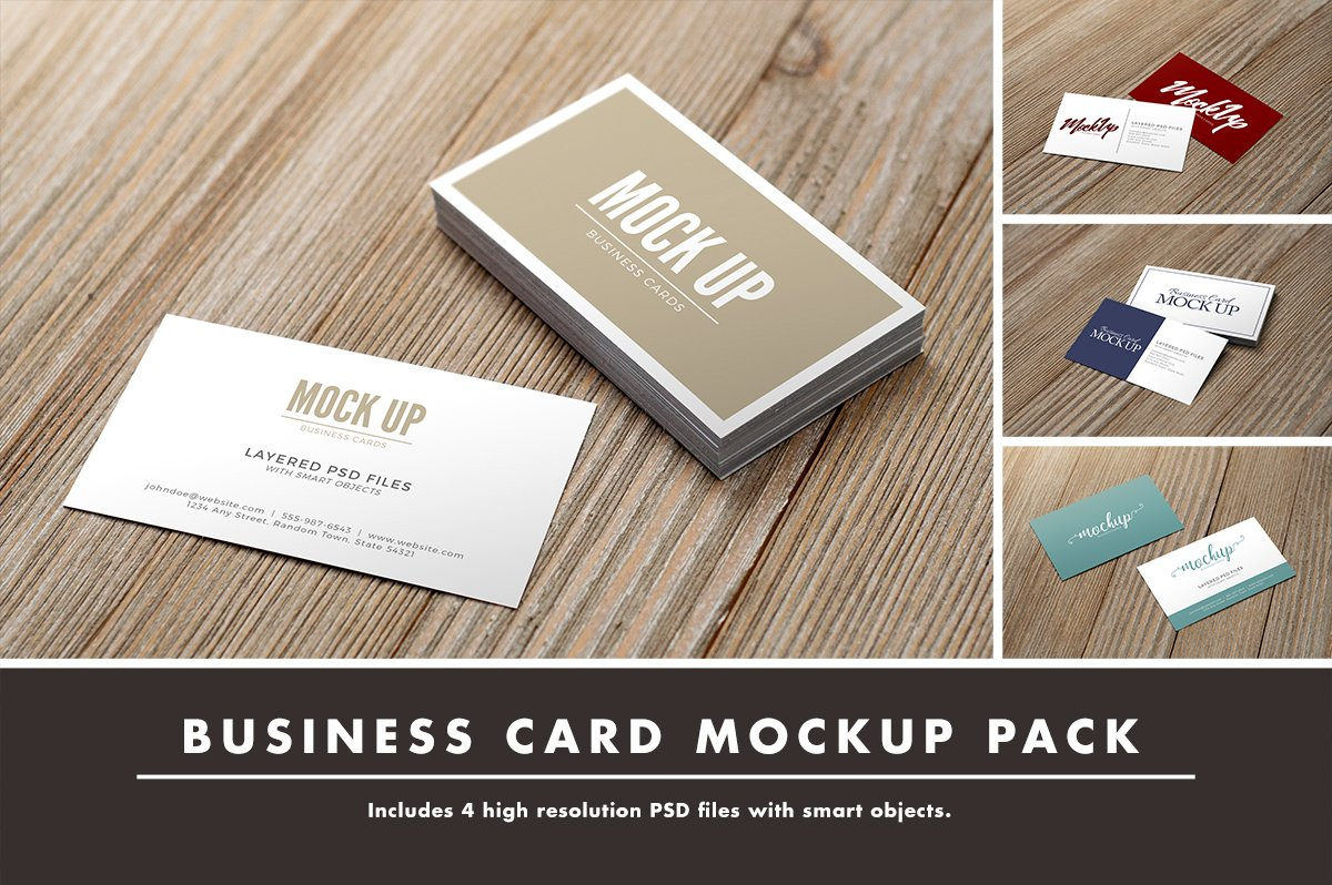 Business card mockup pack on wood product mockups creative market reheart Image collections