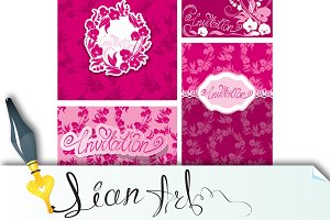 Set of Greeting Cards with Orchid