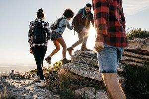 Group of hikers walking