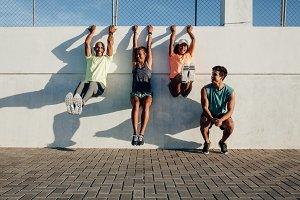 People having fun during workout