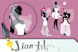 girls silhouettes dressing Wedding