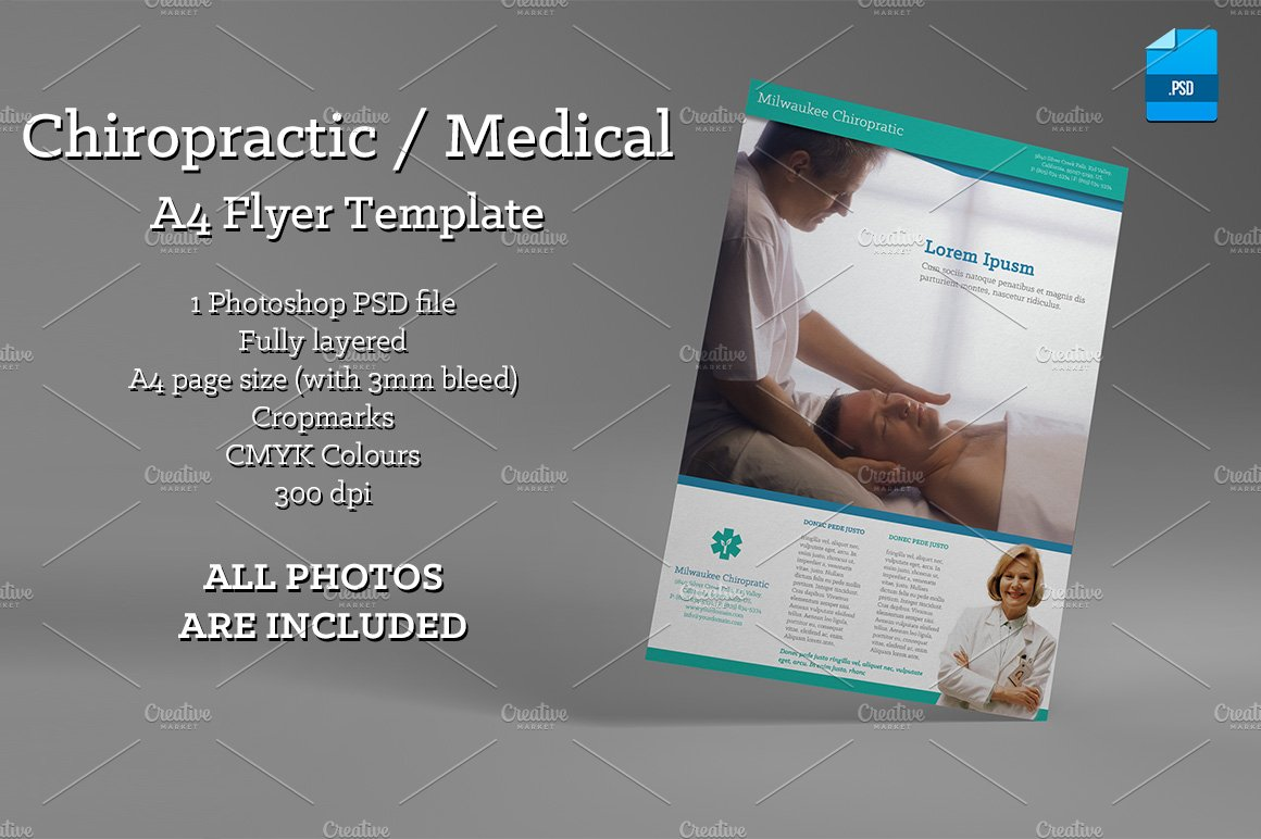 chiropractic medical a4 flyer flyer templates creative market