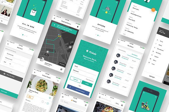 complete ios ui kit for delivery app website templates creative