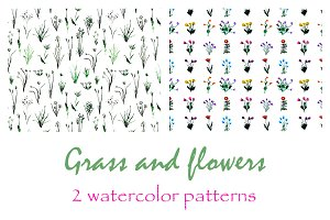 Grass and flowers watercolor pattern