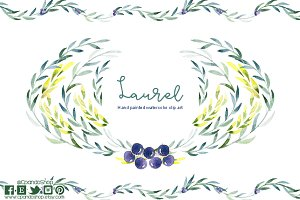 Laurel watercolor clip art