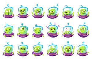 Alien In Ufo Emoji Set