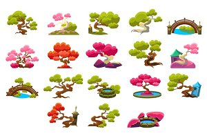 Japanese Style Trees Set
