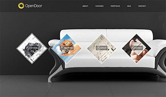 Opendoor interior design portfolio bootstrap themes creative market for Creative interior design portfolio