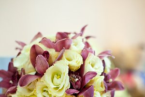 Yellow and violet wedding bouquet