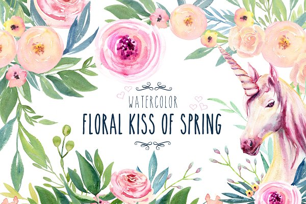 Watercolor Floral Kiss of Spring