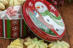 Christmas Cookies in a decorated tin