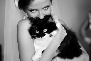 A bride holding a scarried cat