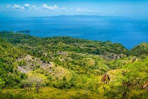Spectacular Terrace near Abangan Hill on the Way to Suwehan Beach, Nusa Penida Island, Bali, Indonesia