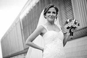 Gorgeous bride looks far away