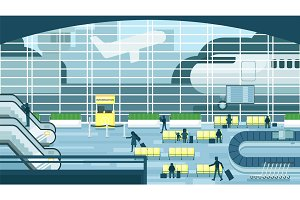 Business people sitting and walking in airport terminal, business travel concept. Flat design vector illustration.