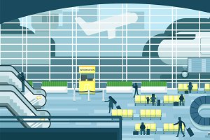 Business people sitting and walking in airport terminal, business travel concept. Flat design illustration.