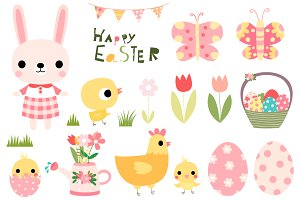 Cute Easter clip art set