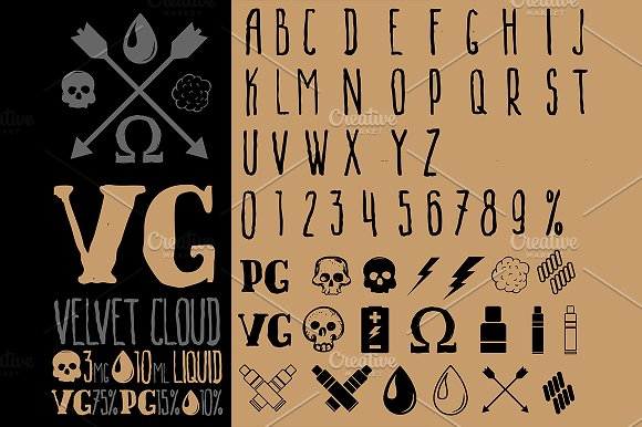 Vape Set Icons Letters
