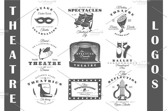 9 Theatre logos templates Vol.2 in Logo Templates