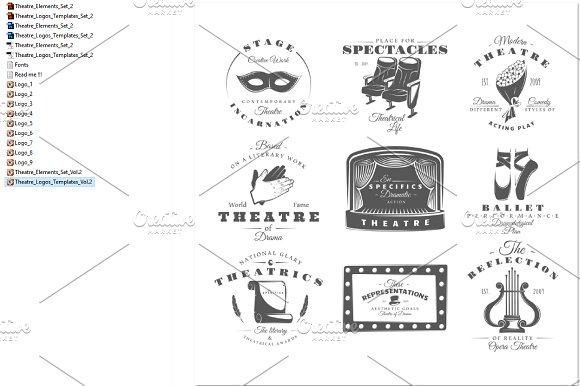 9 Theatre logos templates Vol.2 in Logo Templates - product preview 2