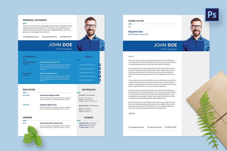 Resume CV Cover Letter A4 Templates Creative Market